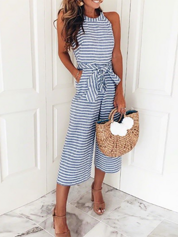 PMS Jumpsuits Blue / s Striped Vacation Casual Jumpsuit