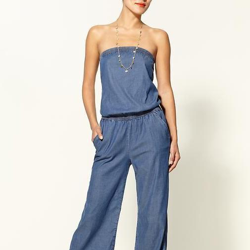 PMS Jumpsuits Blue / s Tube Thin Jeans Jumpsuit