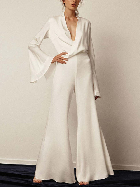 PMS Jumpsuits Casual Sexy V-Neck Pure Color Jumpsuits