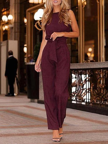 PMS Jumpsuits Claret / s Commuting Pure Colour Loose Belted Sleeveless Jumpsuit