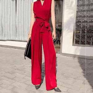 PMS Jumpsuits Claret / s Sexy V Neck Bow Sleeveless Pure Colour Jumpsuit