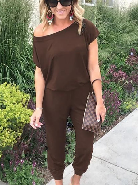 PMS Jumpsuits Coffee / s Casual Sloping Shoulde Pure Colour Short Sleeve Jumpsuits