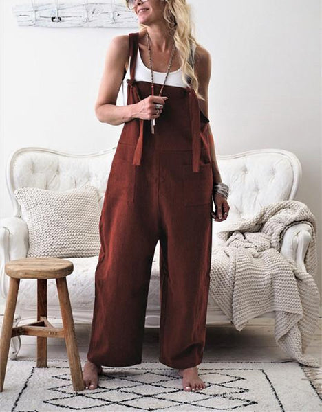PMS Jumpsuits coffee / s Fashion Casual Pure Color Long Belt Trousers