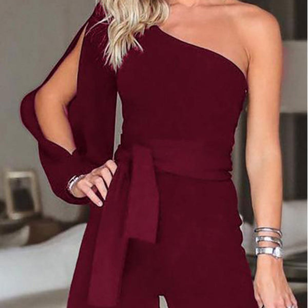 PMS Jumpsuits Date Red / s Casual Sexy Off The   Shoulder Frenulum Slim Pure Color Shorts Jumpsuit