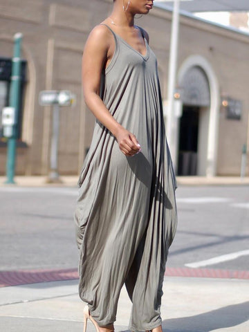 4f02a06f6f5 PMS Jumpsuits Gray   s Casual Stretchy Spaghetti Strap Loose Jumpsuit