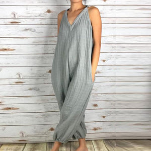 PMS Jumpsuits gray / s Fashionable Loose V-Neck Solid Color Jumpsuit