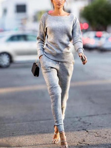 PMS Jumpsuits Gray / s Leisure Round Collar Long-Sleeved Pit Sports Kit