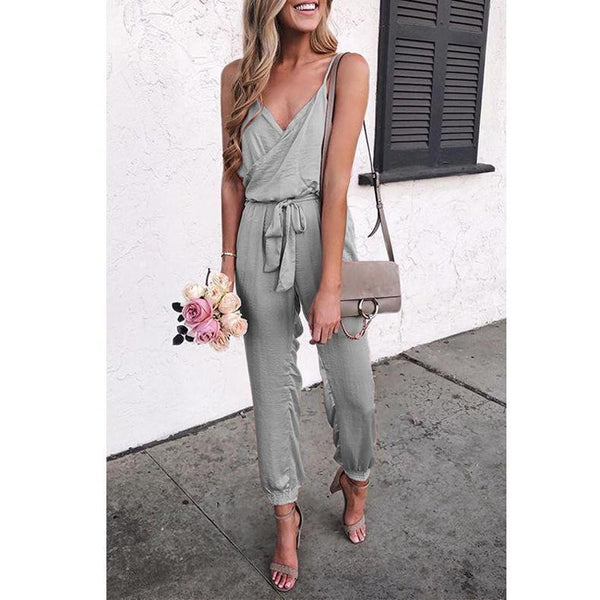 PMS Jumpsuits Gray / s Pure Color Suspenders Casual Jumpsuits