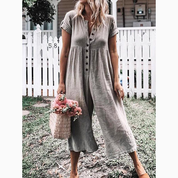 PMS Jumpsuits Gray / s Women's Leisure Pure Color Buckle Short Sleeved Trousers Jumpsuit