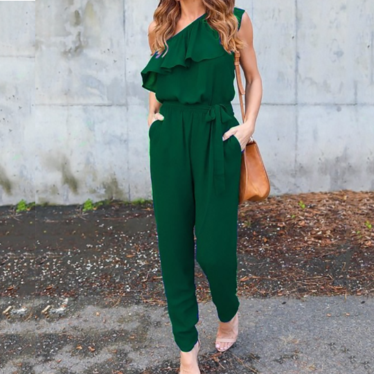 PMS Jumpsuits Green / s Bowknot Elastic Waist Flounce Lace-Up  Belt Loops Plain Jumpsuits