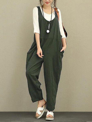 PMS Jumpsuits Green / s Fashion Casual Cotton/Linen Loose Jumpsuits