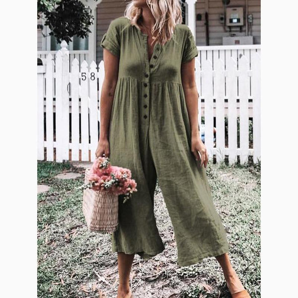 PMS Jumpsuits Green / s Women's Leisure Pure Color Buckle Short Sleeved Trousers Jumpsuit