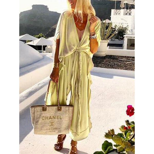 PMS Jumpsuits Light Green / s Casual Loose Tie Front V Neck Wide Leg Jumpsuit
