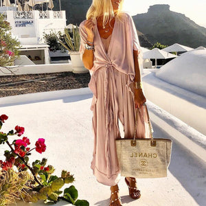 PMS Jumpsuits Pink / S Casual Loose Tie Front V Neck Wide Leg Jumpsuit