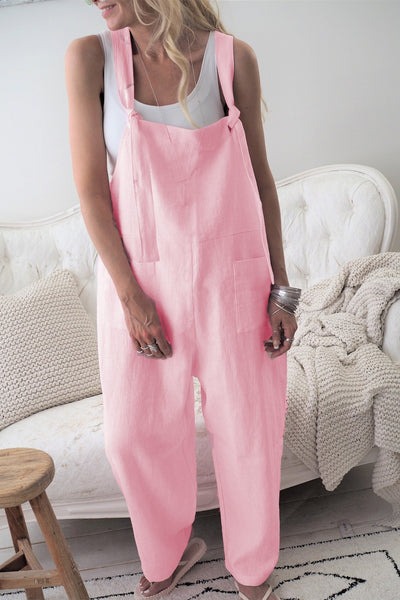 PMS Jumpsuits pink / s Fashion Casual Pure Color Long Belt Trousers
