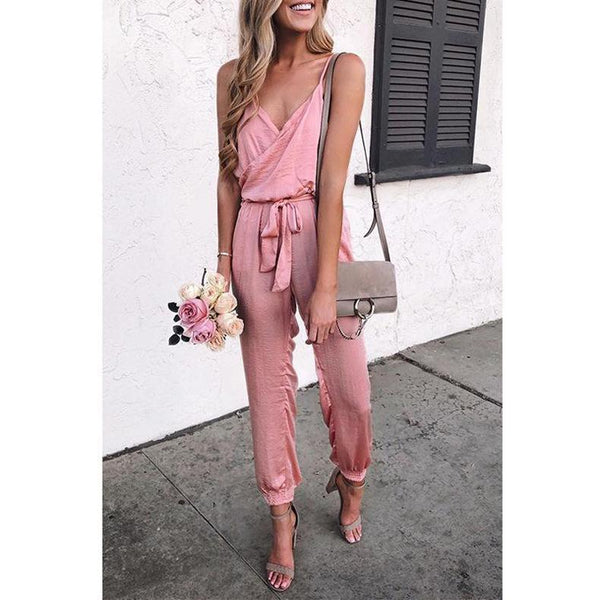 PMS Jumpsuits Pink / s Pure Color Suspenders Casual Jumpsuits