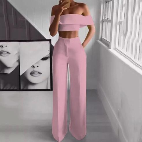 PMS Jumpsuits Pink / s Sexy Bare Back Sloping Shoulder Sleeveless Pure Colour Suit