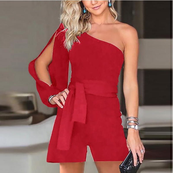 PMS Jumpsuits Red / s Casual Sexy Off The   Shoulder Frenulum Slim Pure Color Shorts Jumpsuit