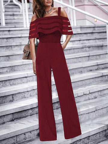 PMS Jumpsuits Red / s Commuting Boat Neck Ruffled Off-Shoulder Splicing Jumpsuits