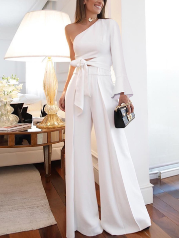 PMS Jumpsuits Same As Photo / s Fashion Pure Colour   Off-Shoulder Jumpsuit