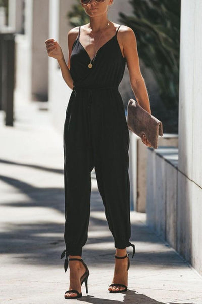 PMS Jumpsuits Same As Photo / s V Neck  Elastic Waist  Print  Jumpsuits