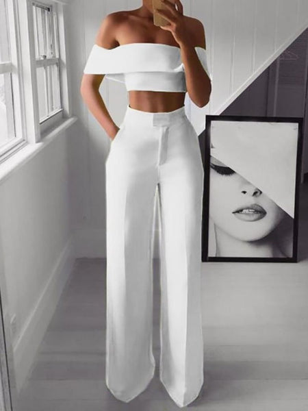 PMS Jumpsuits Sexy Bare Back Sloping Shoulder Sleeveless Pure Colour Suit