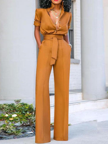 PMS Jumpsuits Sexy Turndown Collar Pure Colour Long Sleeve Jumpsuit