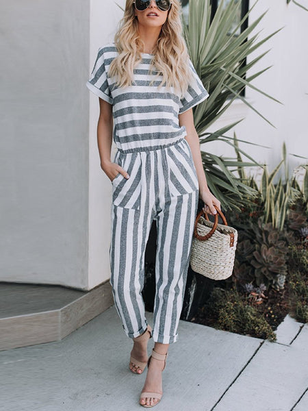 PMS Jumpsuits Stripe / s Fashion Casual Stripe Short Sleeves Jumpsuit