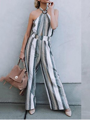 PMS Jumpsuits Stripe / s Fashion Striped Bare Back Halter Jumpsuits