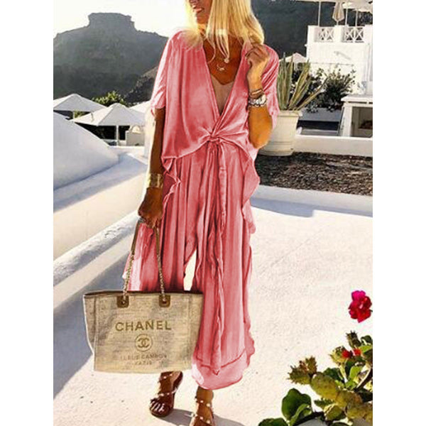PMS Jumpsuits Watermelon Red / s Casual Loose Tie Front V Neck Wide Leg Jumpsuit