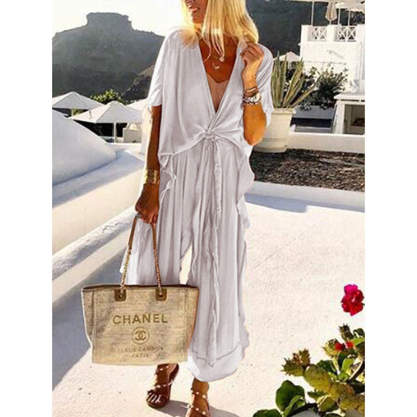 PMS Jumpsuits White / s Casual Loose Tie Front V Neck Wide Leg Jumpsuit