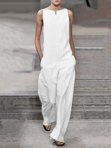 PMS Jumpsuits White / s Fashion Solid Color Loose Jumpsuits