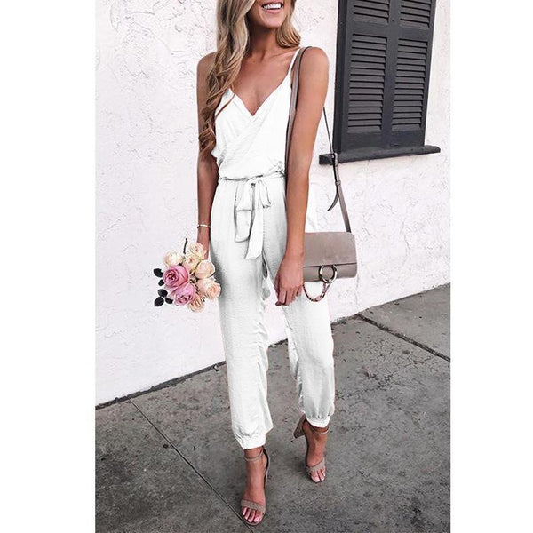 PMS Jumpsuits White / s Pure Color Suspenders Casual Jumpsuits
