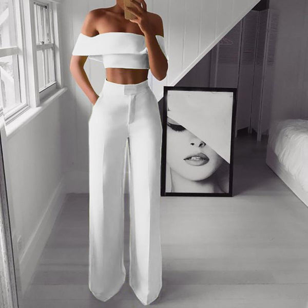 PMS Jumpsuits White / s Sexy Bare Back Sloping Shoulder Sleeveless Pure Colour Suit