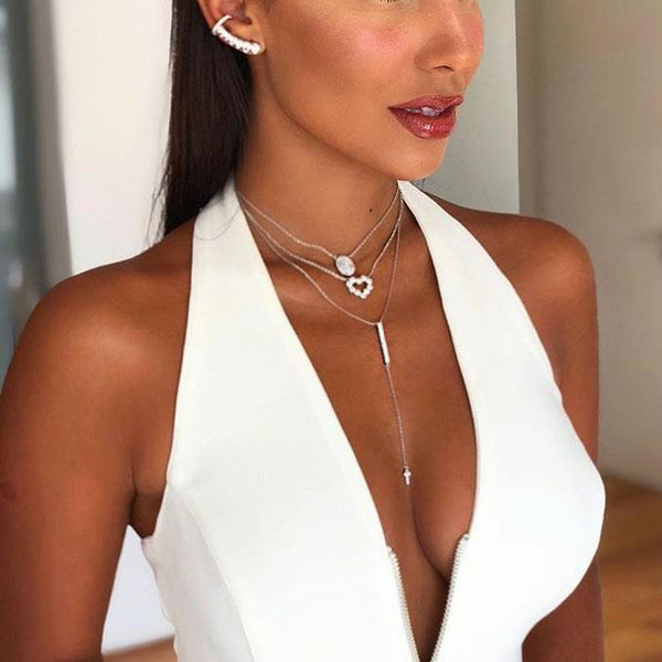 PMS Jumpsuits White / s Sexy Deep V Sleeveless Halter Jumpsuit