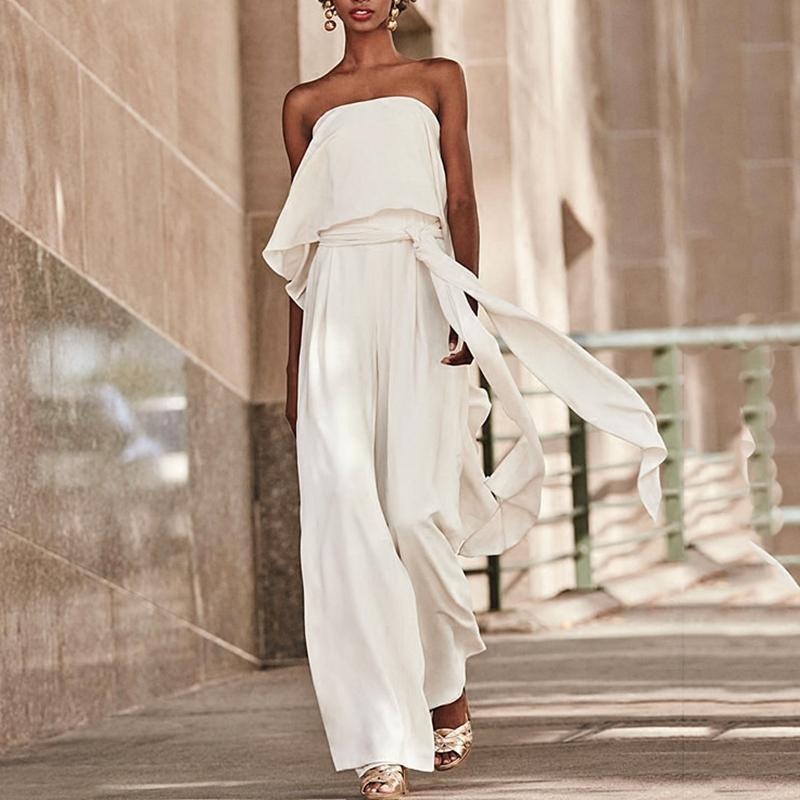 PMS Jumpsuits White / s Sexy Pure Colour Belted Off-Shoulder Sleeveless Jumpsuits