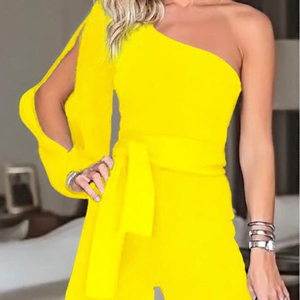 PMS Jumpsuits Yellow / s Casual Sexy Off The   Shoulder Frenulum Slim Pure Color Shorts Jumpsuit