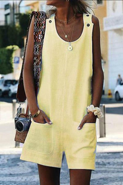 PMS Jumpsuits Yellow / s Round Neck Patch Pocket Jumpsuits
