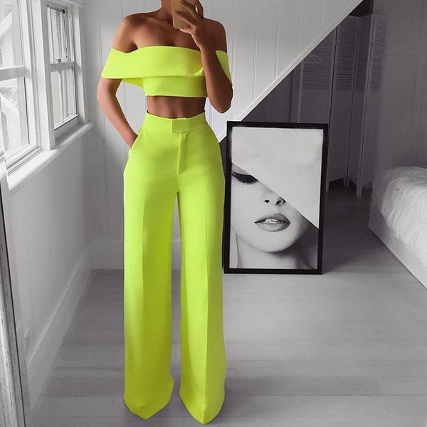 PMS Jumpsuits Yellow / s Sexy Bare Back Sloping Shoulder Sleeveless Pure Colour Suit