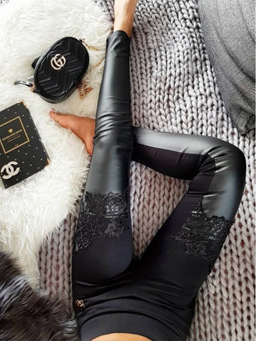 PMS Leggings Black / s Patchwork  Lace Leggings