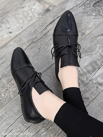PMS Loafers black / us5 Fashion Plain Point Toe Artificial PU Flat & Loafers Shoes