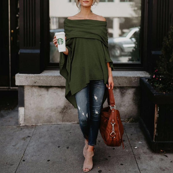 PMS Long Sleeve Blouses Army Green / s Off Shoulder  Asymmetric Hem  Plain Blouses