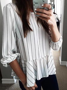 PMS Long Sleeve Blouses Basics Long Sleeve Striped Splicing Ruffled Blouse