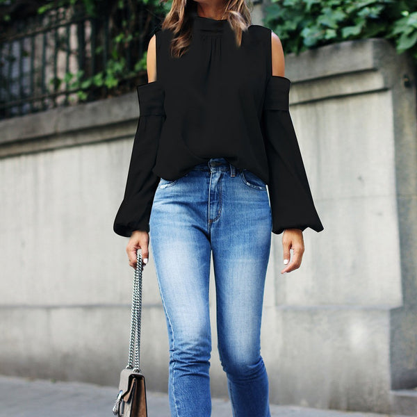 PMS Long Sleeve Blouses Black / s 2019 Spring Long Sleeve Off Shoulder Blouse