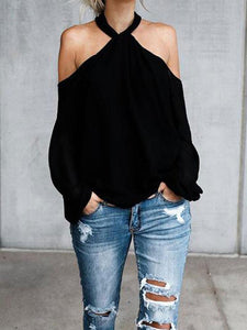 PMS Long Sleeve Blouses Black / s Open Shoulder  Cutout  Plain Blouses