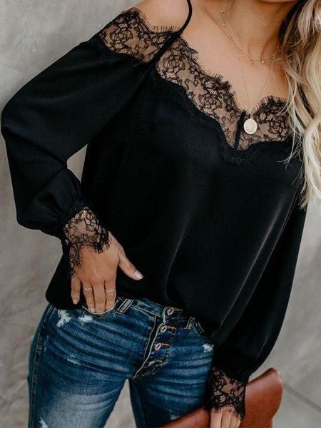 PMS Long Sleeve Blouses Black / s Spaghetti Straps Lace Patchwork Long Sleeve Blouses
