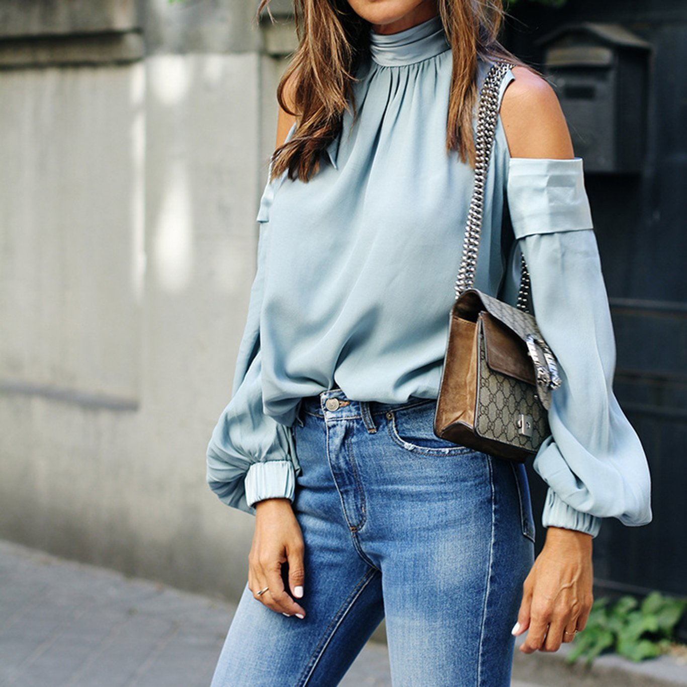 PMS Long Sleeve Blouses Blue / s 2019 Spring Long Sleeve Off Shoulder Blouse