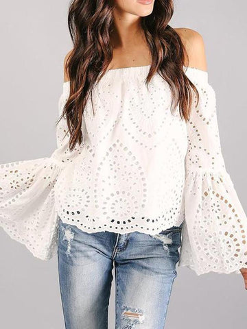 PMS Long Sleeve Blouses Casual One Shoulder Solid Color Blouse