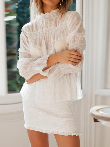 PMS Long Sleeve Blouses Casual White Pleated Chiffon Blouse