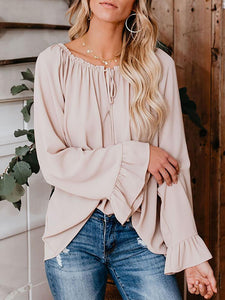 PMS Long Sleeve Blouses Classy Off The Shoulder Plain Color Tie Bow Blouse
